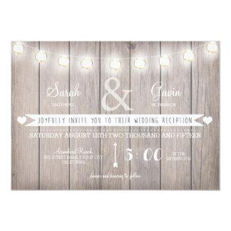 Convite rústico da recepção de casamento das luzes