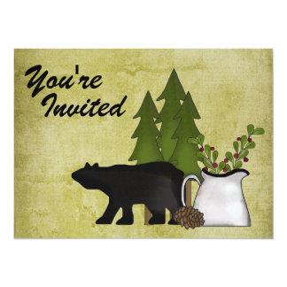 Convite rústico da reunião de família do urso da