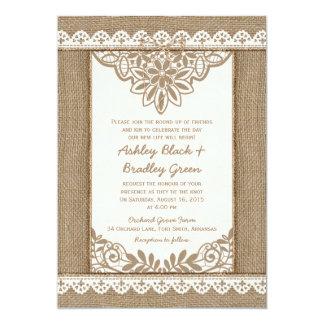 Convite rústico do casamento do arco da guita do