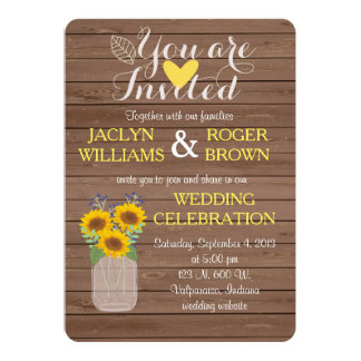 Convite rústico do casamento do girassol