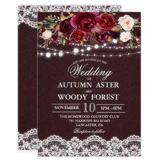 Convite rústico do casamento do outono