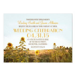 Convite rústico do casamento do país dos girassóis
