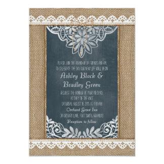 Convite rústico do casamento do quadro do laço de