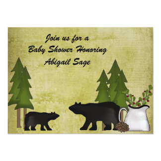 Convite rústico do chá de fraldas do urso da