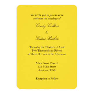 Convite simples liso preto amarelo do casamento