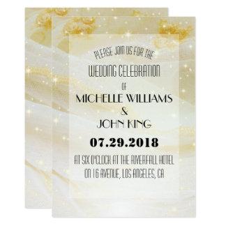 Convite Sparkling dourado elegante do casamento do