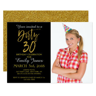 Convite sujo do aniversário da folha de ouro 30