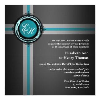 Convite Turquois cinzento da cerimónia de