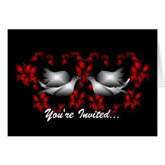 Convite vazio das pombas do amor cartão de nota