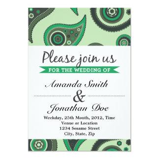 Convite verde do casamento de Paisley