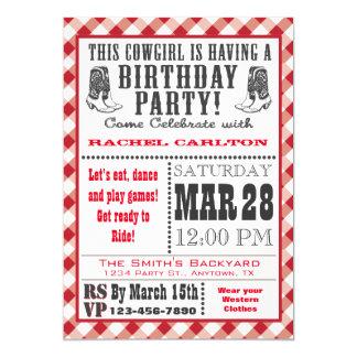 Convite vermelho do aniversário da vaqueira do