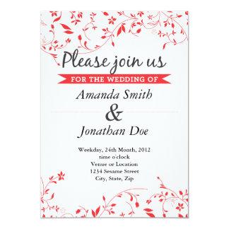 Convite vermelho do casamento da flor