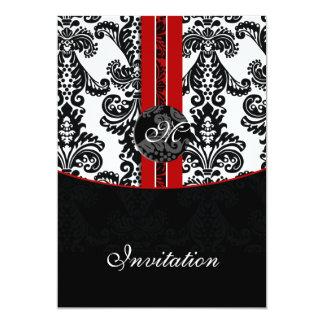 convite vermelho do casamento do damasco convite 12.7 x 17.78cm