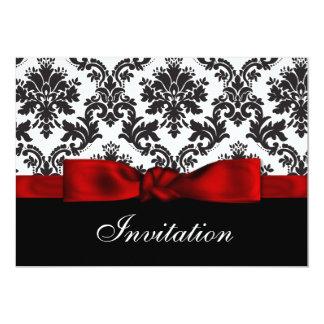 Convite vermelho do casamento tema damasco convite 12.7 x 17.78cm