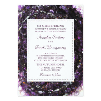 Convite violeta Amethyst do casamento de Geode |