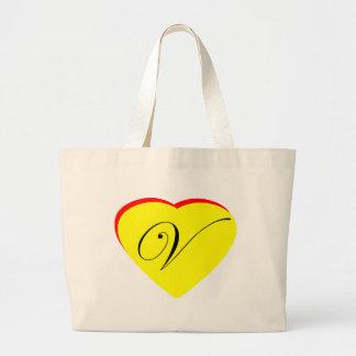 Convite Wedding do vermelho V amarelo do coração o Bolsas Para Compras