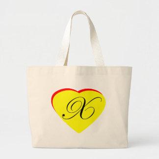 Convite Wedding do vermelho X amarelo do coração o Bolsas De Lona