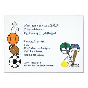 Convites A festa de aniversário das bolas dos esportes f2d157cb043a2