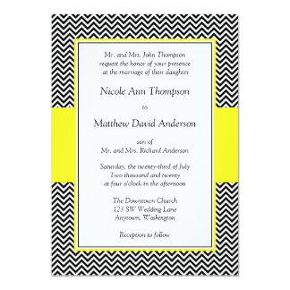 Convites amarelos e pretos do casamento de Chevron