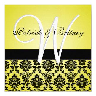 Convites amarelos & pretos do monograma do convite quadrado 13.35 x 13.35cm
