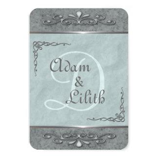 Convites azuis customizáveis à moda do casamento