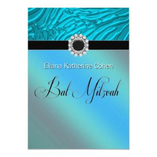 Convites azuis de Mitzvah do bastão da zebra da