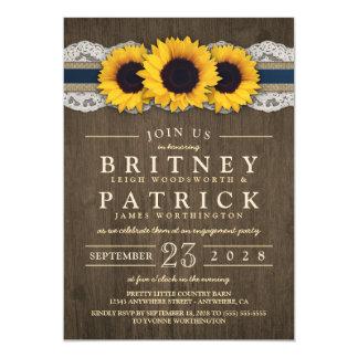 Convites azuis rústicos da festa de noivado do