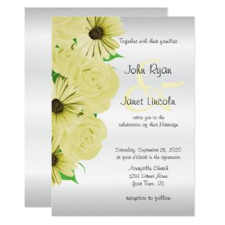Convites bonitos do casamento do rosa amarelo & da