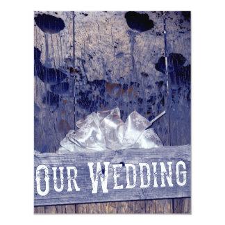 Convites brancos rústicos do casamento da grão da