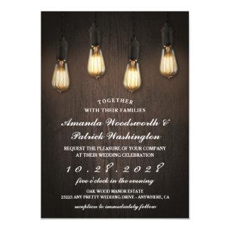 Convites chiques do casamento das luzes rústicas