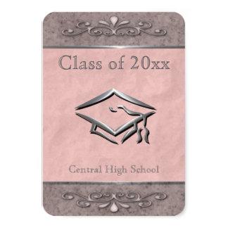 Convites cor-de-rosa customizáveis ornamentado da