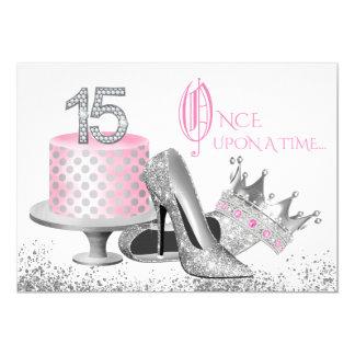 Convites cor-de-rosa e de prata de Quinceanera