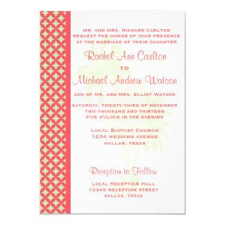 Convites corais & verdes do casamento de praia