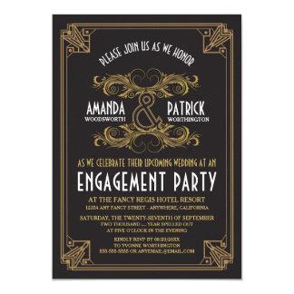 Convites da festa de noivado do ouro do vintage do