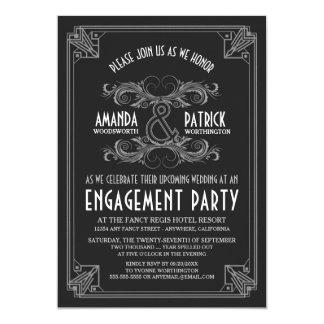 Convites da festa de noivado do vintage do art
