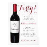 Convites da garrafa de vinho do aniversário de 40