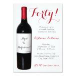 Convites da garrafa de vinho do aniversário de 40 convite 11.30 x 15.87cm