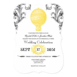Convites de casamento amarelos do balão de ar