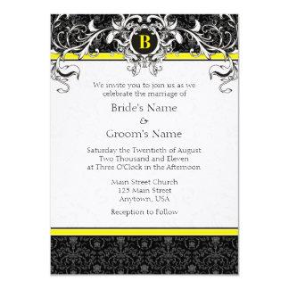 Convites de casamento amarelos & pretos de A6 do