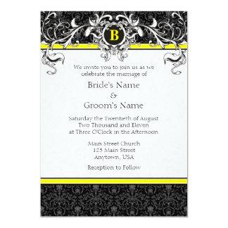 Convites de casamento amarelos & pretos de A7 do
