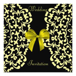 Convites de casamento bonito pretos amarelos do