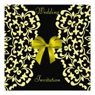 Convites de casamento bonito pretos amarelos do la