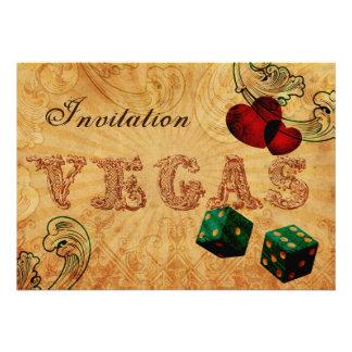 convites de casamento de Vegas do vintage dos dado