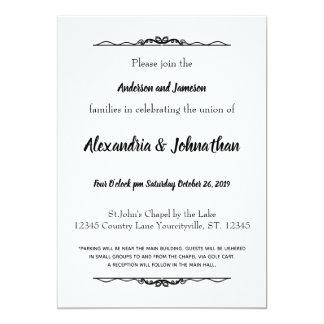 Convites de casamento preto e branco clássicos
