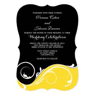 Convites de casamento pretos amarelos do suporte