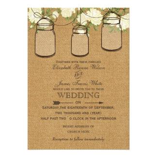 convites de casamento rústicos do frasco de