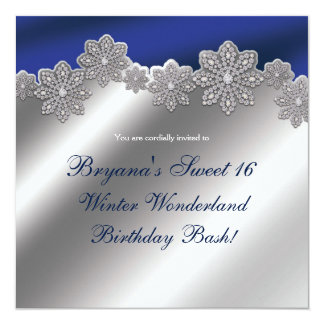 Convites de cristal de prata & azuis do inverno do