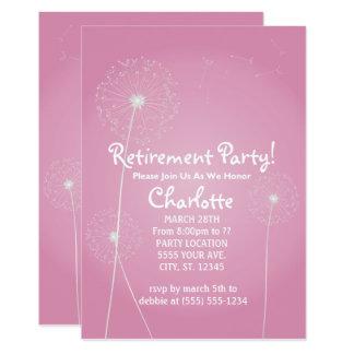 Convites de festas cor-de-rosa da aposentadoria do