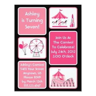 Convites de festas cor-de-rosa do carnaval das