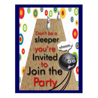 Convites de festas da boliche customizáveis cartão postal